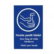 """Huomiotarra A4 """"Muista pestä kädet"""""""
