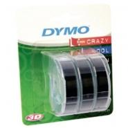 Dymo 3D -kohokirjoitinteippi 9mm x 3m musta  3kpl/pkt