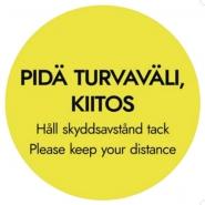 """Lattiatarra """"PIDÄ TURVAVÄLI, KIITOS"""" pyöreä  30cm"""