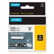 Dymo Rhino 18488 nylonteippi 12mm x 3,5m  musta/valkoinen