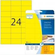 Tulostustarra Herma Premium 4466 keltainen A4 70x37mm 24-os. 20ark/pkt