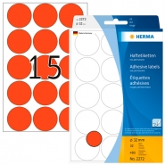 Merkintätarra pyöreä Herma 2272 32mm  punainen 480kpl/pkt