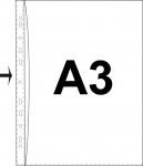 Kansiotasku A3 PVC 0,14 kirkas  reijityksenpuoli auki