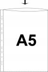 Kansiotasku A5 PE 0,07 kirkas ylhäältä auki