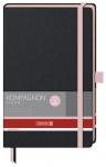 Muistikirja Kompagnon Trend A5/192 viivat sidottu musta/pinkki