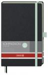 x Muistikirja Kompagnon Trend A5/192 viivat sidottu musta/vihreä