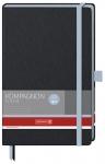 x Muistikirja Kompagnon Trend A5/192 viivat sidottu musta/sininen
