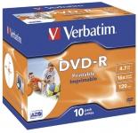 DVD-R Verbatim 4,7GB 16x Printable Jewel Case 10kpl/pkt